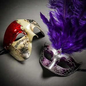 Musical Red Gold & Venetian Silver Couple Masks